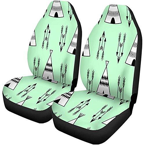 2PCS Autositzbezüge Baby Kids Wigwam Pfeile Cute Mint Pattern Sitze Protector Passt...