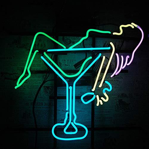 Neon Zeichen Licht,Leuchtreklame Licht,Nachtlicht,Werbeschild, handgemachte echte Glasröhre, Bier Bar Pub Home Room Fenster Garage Wand Dekor Hochzeit Party Dekoration (F-Drunk Girl 18
