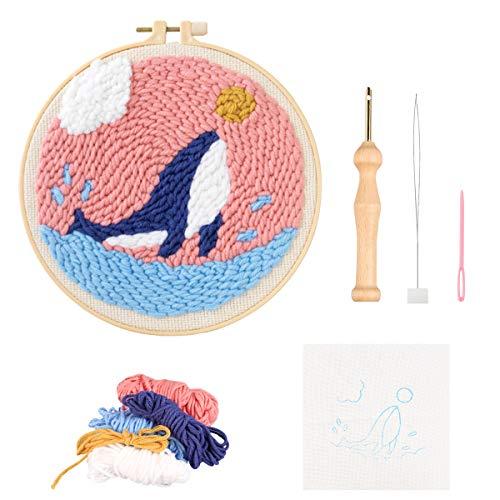 Kit de agujas de perforación fácil para principiantes con un bolígrafo de bordado y aro, juego de ganchos para alfombras para niños, diseños de kits de bordado, patrón de...