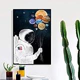 QWESFX Arte Dibujos animados Astronauta Imágenes Lienzo Pintura Arte de la pared Para la sala Moderna Imagen decorativa Carteles (Imprimir sin marco) B 40x60CM