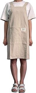 LeerKing Delantal Cruzado Japones de Algodón 100% con 2 Bolsillos Mandiles Cocina Trabajo Jardinería Servicio para Hombre ...