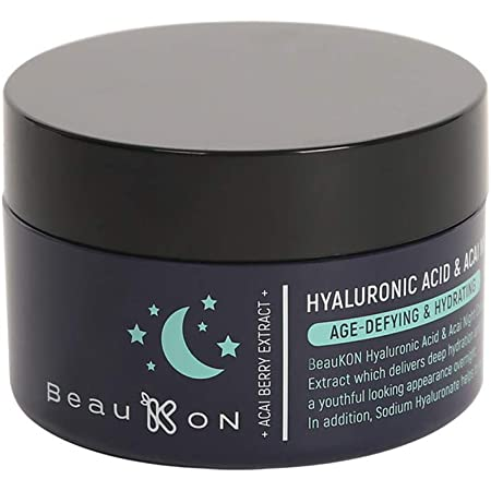 BeauKON Hyaluronic Acid & Acai Night Cream, Hydrating and Anti Aging, Green Tea Extract (1.7 Oz)
