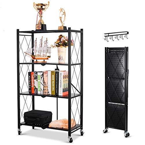 Foldable Shelving Unit Storage Rack on Wheels Large Capacity, Heavy Duty Steel 4-Shelf Organizer with Hooks, Black