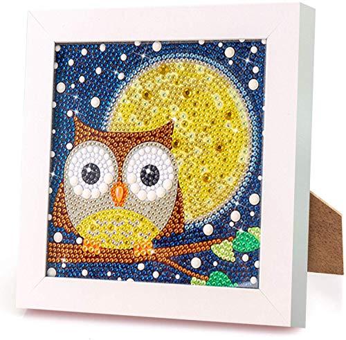 Aapxi 5d Diamond Painting Set Full zubehör Eule Bilder,Malen nach Zahlen Diamant Painting für Kinder mit Holzrahmen Arts Craft Home Wand-Decor 18 x 18 cm