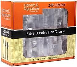 مجموعة أدوات مائدة شفافة ثقيلة الوزن من البلاستيك فضي، أدوات مائدة للاستعمال مرة واحدة - مجموعة من 240 قطعة.