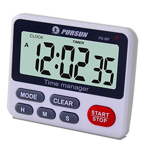 XREXS Digitaler Küchentimer Kochen Timer Küchenuhr - Count Down Up Timer mit Wecker Stoppuhr mit Großen LCD Display(Batterie enthalten)