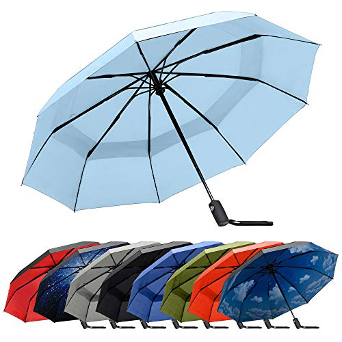 RainPlus Baby Blue Automatic Umbrella - Windproof Portable Umbrella Keeps You Safe and Dry in Any Weather - Personal Travel Size, Breeze to Use - Auto Open Close Shelter from the Rain