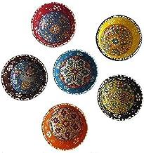 Tubibu Decorative Desing Turkish Ceramic Bowl Set of 6 - Handcrafted Pinch Multicolor Finger Small Serving Bowls (Decco, 3...