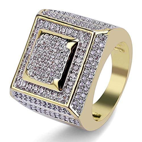 KMASAL Jewelry - Anillo cuadrado de hip hop, chapado en oro de 18 quilates, con diamantes de imitación de imitación de circonita cúbica para hombres y mujeres