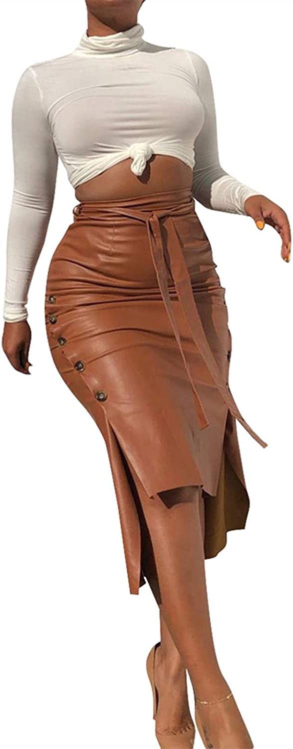 Faux Leather Skirts for Women - Vintage High Waisted Belted Bodycon Midi Skirt with Slit