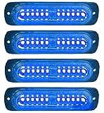 Luz estroboscópica LED, 4Pack 12LED Luz de advertencia estroboscópica 12V/24V Luz de baliza intermitente de emergencia Luz de policía para camiones, vehículos todoterreno (Azul)