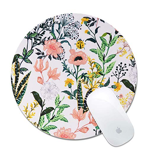 Artiron Mouse Pad, Colorful Wildflowers Round Art Customized Designs Non-Slip Rubber Base Gaming Mouse Pads for Mac, PC, Computers. Ideal for Working or Game 7.9x7.9inch