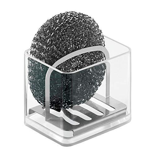 mDesign Portaestropajos doble – Eficiente organizador de fregadero para almacenar estropajos o esponjas – Guarda estropajo de cocina con separador de acero inoxidable - Transparente