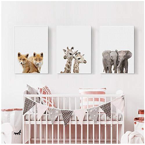 Zhaoyangeng Dierbabyposter en print muurkunst olifant vos giraffe canvas schilderij schilderij schilderijen wooncultuur kinderkamer babykamer - 50X70Cmx3 niet-ingelijst