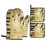 Ensemble de 4 Mitaines de Four et Porte-casseroles,Imprimer la Note et Les Touches de Pianos dan,Gants de Cuisine résistants à la Chaleur pour la Cuisson,la Cuisson,Les grillades,Le Barbecue