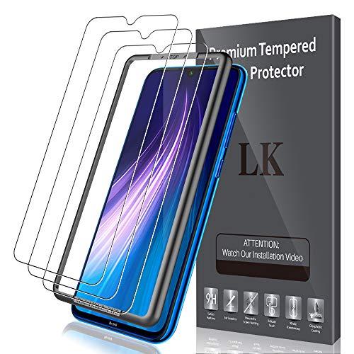 LK Compatible con Xiaomi Redmi Note 8 Protector de Pantalla,3 Pack,9H Dureza Cristal Templado, Equipado con Marco de Posicionamiento,Vidrio Templado Screen Protector,LK-X-35