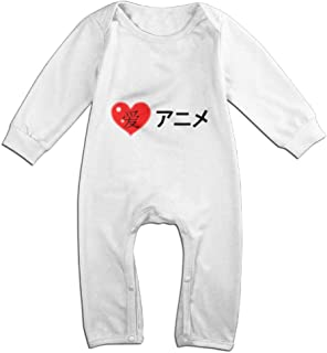 I Love Anime in Japanese Baby Infant Girls Long Sleeve Printed Bodysuit Jumpsuit Outfits