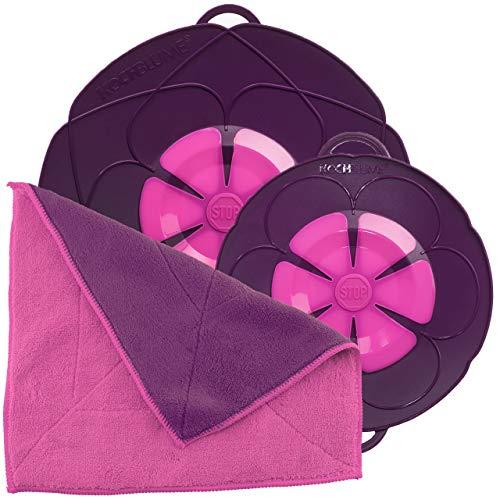 Kochblume Spar-Set für Töpfe von 14 bis 24 cm mit Microfasertuch als Set in der pinken Box | Silikon Überkochschutz für Töpfe und Pfannen (lila)