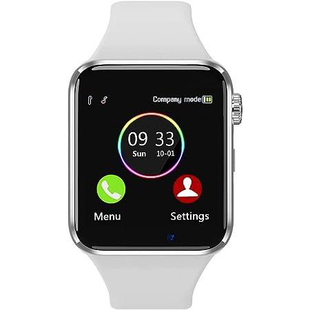 Reloj inteligente para teléfonos Android compatible con iPhone Samsung, Sazooy Fitness Tracker pantalla táctil Bluetooth Smartwatch con ranura para tarjeta SIM SD, cámara de soporte para llamadas y mensajes para mujeres, hombres y niños (blanco)