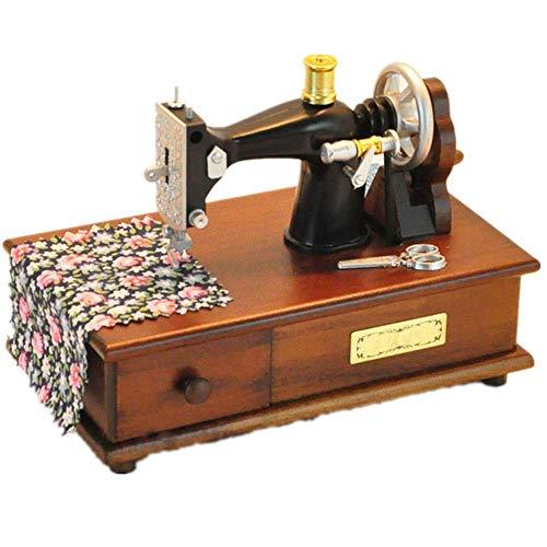 ZHOUMEI Goed voor de hersenen Music Box Naaimachine Houten Muziekdoos Vintage Hout Craft Home Decoratie Ambachten (Kleur : Foto Kleur, Maat : 16.5X9X13CM)