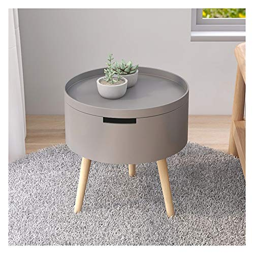 """xiaokeai Sofa End Tables Wooden Small End Table/Side Table Coffee Table Round Bedside Table/Accent Table With Removable Tray For Living Room,15""""Dx16.9""""H Coffee Table for Living Room (Color : Gray)"""