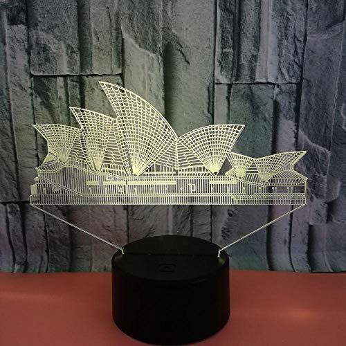 HOHHJFGG Sydney Opera House geformte 3D-LED-Licht Acryl Nachtlicht Home 7 Farbwechsel USB Tischlampe Home Decoration Geschenke für Kinder