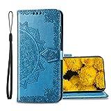Handyhülle für ZTE Axon 11 SE 5G Hülle Leder Wallet Tasche Cover Retro Blumen Muster Design Klapphülle Handytasche Phone Hülle für ZTE Axon 11 SE 5G-Blau