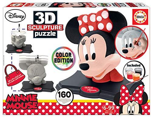 Educa - 3D Sculpture Puzzle Minnie Mouse, Montar y pintar, I
