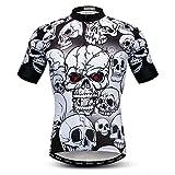 Weimostar Camiseta de Manga Corta para Hombre, Camiseta de Ciclismo, Camiseta de Ciclismo, Camiseta de Ciclismo Transpirable para Bicicleta, Calavera, Blanca XXL