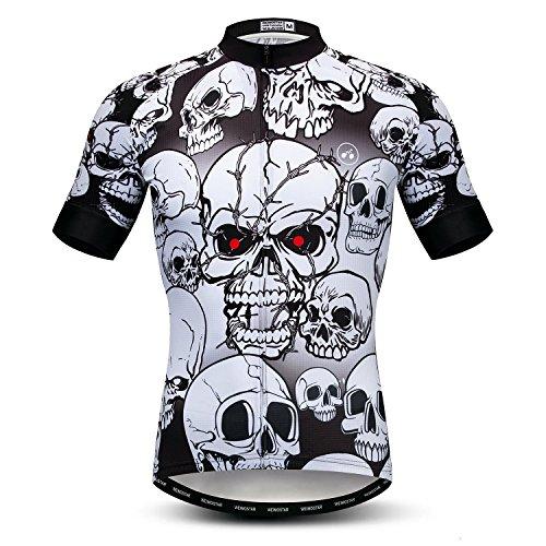 Weimostar Camiseta de Manga Corta de Ciclismo para Hombre Camiseta de Ciclismo Camisa de Ciclismo Transpirable para Bicicleta Cráneo Blanco L