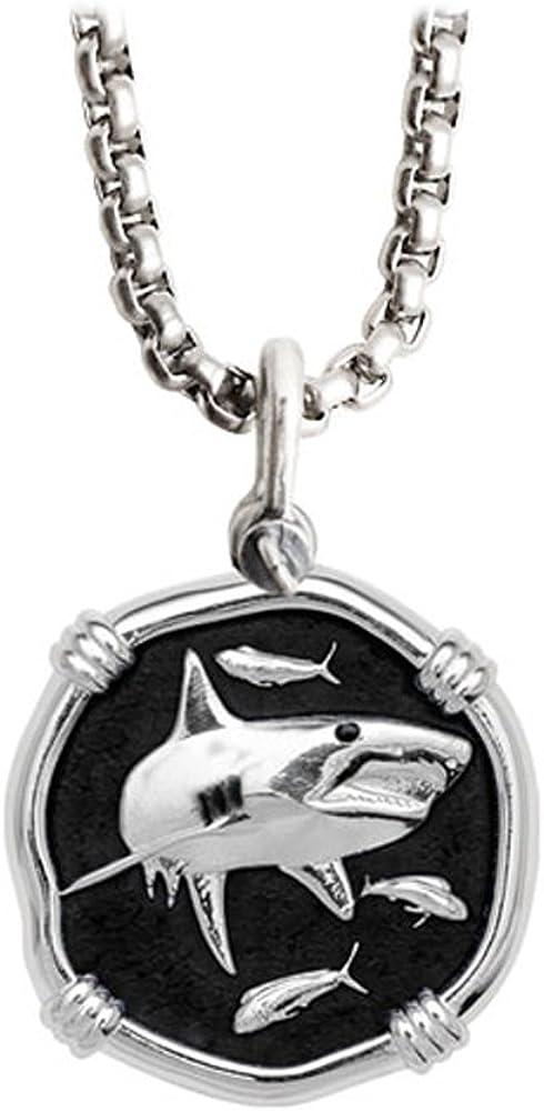 Guy Harvey Shark Medallion Purchase Black Enamel Sterling in Silver Max 71% OFF a on