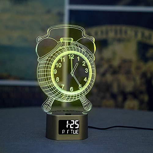 Digitaler Wecker mit 3D-LED-Illusionslampe, Nachtlicht für Jungen und Mädchen, zum Aufwachen auf Tisch, Schreibtisch, Nachtlicht, Deko-Lampe für Kinder