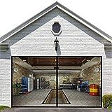 Garage Door Screen for 1 Car Garage Doors 8x7FT- Reinforced Fiberglass Door Screen,Stronger 1400g(3.12LB) High Energy Magnets ,Hands Free Magnetic Screen Door
