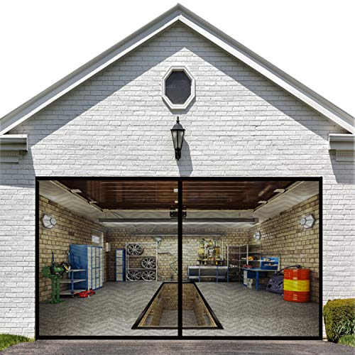 Garage Door Screen for one Car 9x7FT Garage Doors,Heavy Duty Door Screen Curtain for Garage Door,Hands Free Magnetic Screen Door