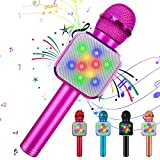 KIDWILL Wireless Bluetooth Karaoke Microphone 5 in 1 Handheld Karaoke Microphone with LED Lights, Portable Microphone for Kids Adults Birthday Party KTV Christmas (Pink)