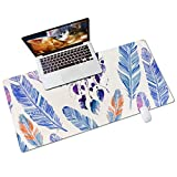 QIYI Desk Pad, PU Leather Desk Blotter Protector, Waterproof Computer Desk Mat, Blue Feathers Keyboard Mouse Pads, Non Slip Home & Office Accessories, Large 31.5' x 15.7' - Watercolor Dream Catcher