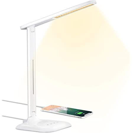 Amazon Com Kavalan Led Desk Lamp With Makeup Lighted Mirror For Office Home Lighting Eye Caring Bedside Lamp With Touch Switch 5 Color Temperatures Mode Bright Stepless Dimming Flicker Free Led Lamp White Home
