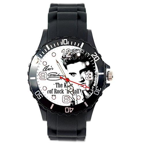 Taport® runde Quarzuhr mit 'Elvis Presley'-Motiv, schwarzem Silikonarmband + gratis Ersatzbatterie + gratis Geschenkbeutel