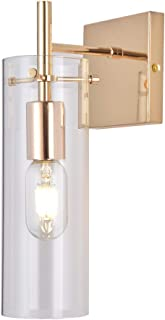 KRASTY Wall Sconce, 1 Light French Gold Wall Lamp, Wall Lamp with Clear Glass Shade for Bathroom Vanity and Kitchen Lighting
