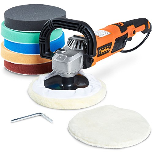 Vonhaus 7-Inch Rotary Polisher, 6 Variable Speeds and Accessory Kit, With 7 Polish/Buff/Smooth/Finish Pads - 10-Amp, 600-3000 RPM Ideal for Cars, Boats, Wood, Metal, Tiles, Plastic, Vehicles