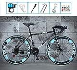LCAZR Strada Biciclette, 24 velocità 26 Bici Pollici, Doppio Disco Freno, Acciaio al Carbonio Telaio, Strada Biciclette da Corsa, per Uomo e Donna per Soli Adulti/Bule