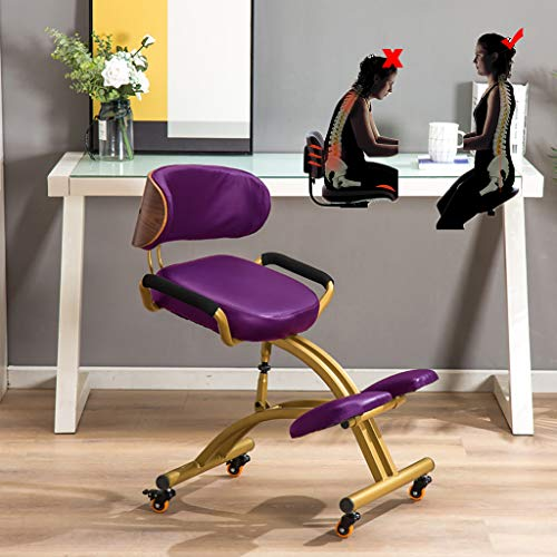 LIfav Adjustable Office Chair, PU Leather Ergonomic Kneeling Chair Posture Correction Kneel Stool with Thick Comfortable Cushion/Roller/Backrest/Armrests, Best Gift,Purple