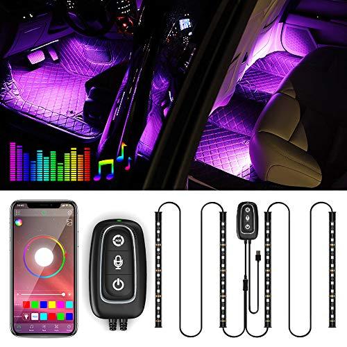 Illuminazione LED per interni –Trongle lampada per auto, 48LED, striscia di design a due linee migliorata, impermeabile, multicolore con funzione suono attivo tramite microfono[classe energetica A+++]