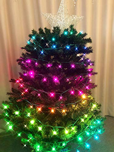 Outdoor String Lights Remote Control 50LED 16.4ft Waterproof Colorful Twinkly LED String Lights Color Change for Wedding Party Holiday Christmas Garden Backyard Decoration Lighting (Remote-Colorful)