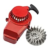 GOOFIT Alloy Pull Start Recoil Starter with Flywheel for 47cc 49cc Pocket Dirt Bike Mini A...