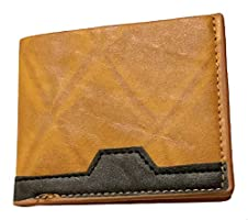 OX Two-Tone Leather Square Flap Wallet for Men - Camel