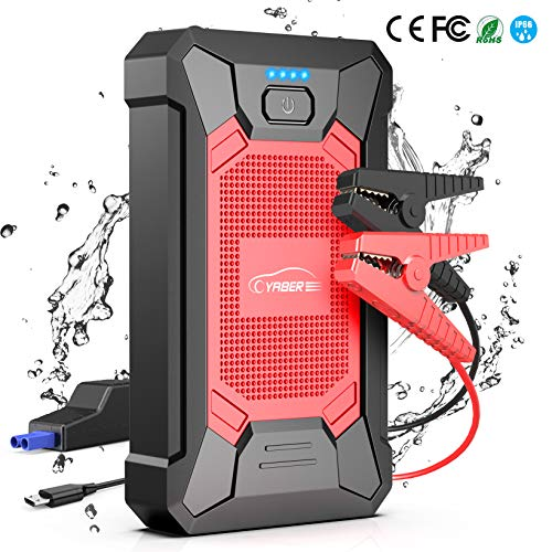 YABER Jump Starter 800A Peak 12000mAh 12V Portable Lithium Car Battery Jump Starter Pack(up to 5.0L Gas, 4.0L Diesel Engine) Super Safe Car Jump Starter with Smart Jumper Cables, USB Port, Flashligh