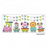 nikima - 024 Wandtattoo Zug mit Tieren Girlande Wandbild - in 6 Größen - niedliche Kinderzimmer Sticker Babyzimmer Aufkleber süße Wanddeko Wandbild Junge Mädchen Größe 1000 x 426 mm