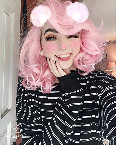 Musegetes Bob rosa breve corpo Wave sintetico pizzo frontale parrucche termoresistenti per le donne