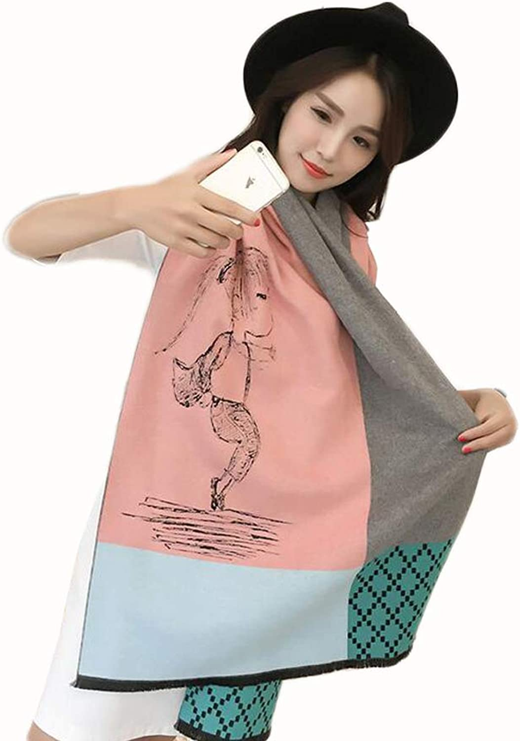JUN Print Scarf Ladies Winter Korean Fashion Wild Cute Thick Warm Shawl